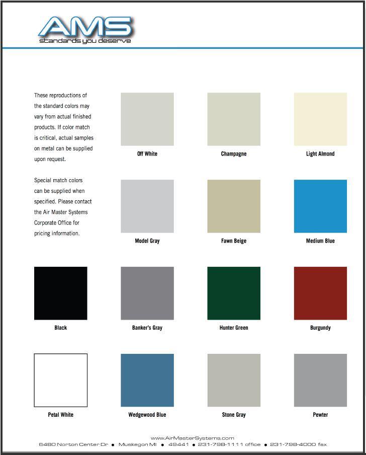 AMS Fume Hood Colour Chart