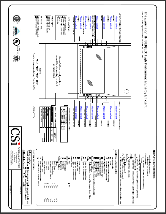 Order Sheets - CSi - HP Series Fume Hood