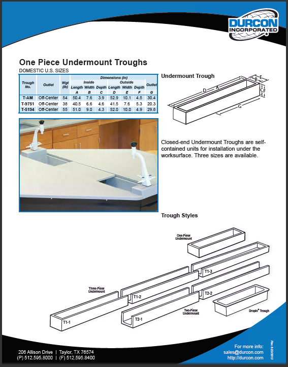 Troughs - Undermount 1 Piece