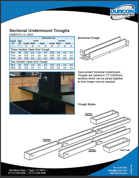 Troughs - Undermount Sectional