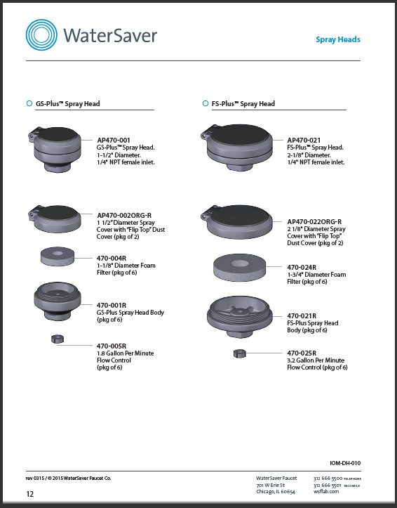 WaterSaver parts for spray heads