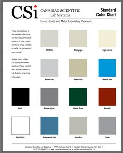 Fume Hood & Casework Colour Chart